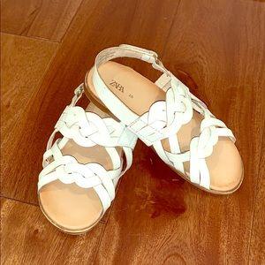 Zara girls white leather sandals